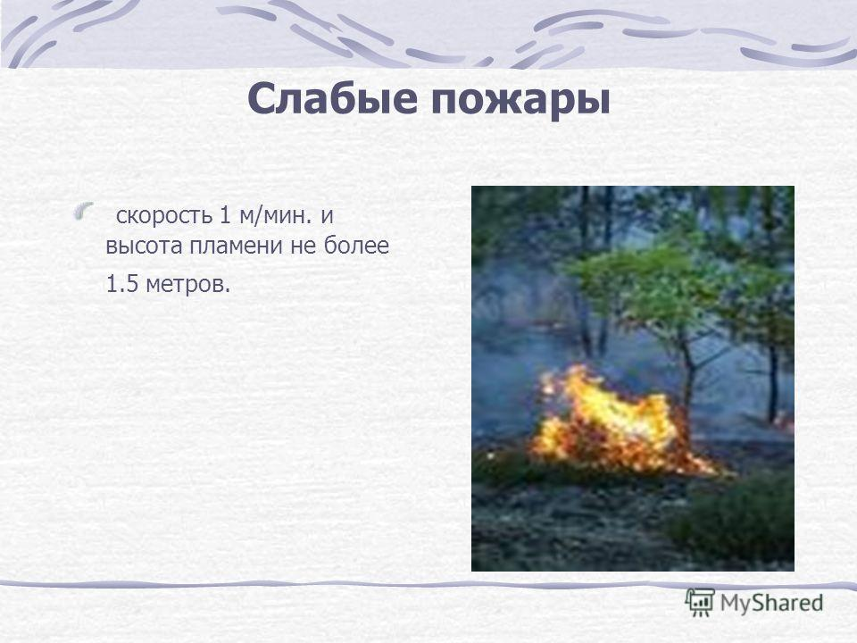 Слабые пожары скорость 1 м/мин. и высота пламени не более 1.5 метров.