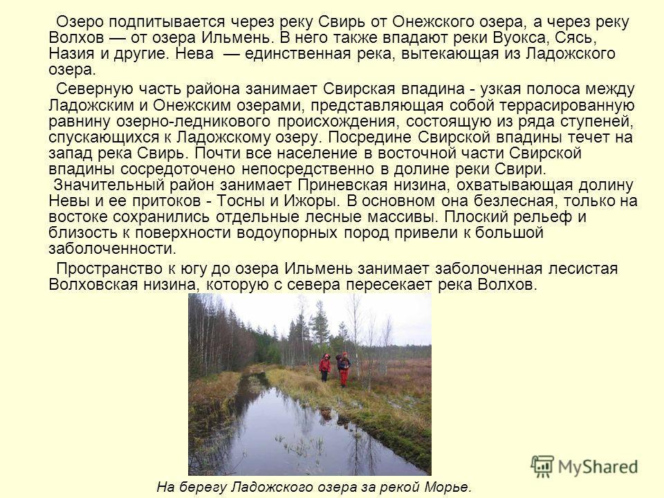 Озеро подпитывается через реку Свирь от Онежского озера, а через реку Волхов от озера Ильмень. В него также впадают реки Вуокса, Сясь, Назия и другие. Нева единственная река, вытекающая из Ладожского озера. Северную часть района занимает Свирская впа