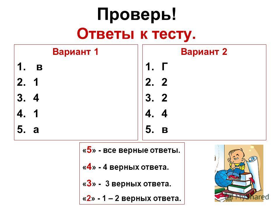 Проверь! Ответы к тесту. Вариант 1 1. в 2.1 3.4 4.1 5.а Вариант 2 1.Г 2.2 3.2 4.4 5.в « 5 » - все верные ответы. « 4 » - 4 верных ответа. « 3 » - 3 верных ответа. «2» - 1 – 2 верных ответа.