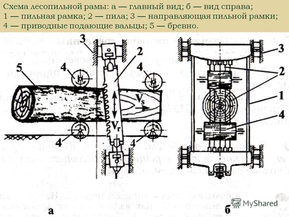 Схема лесопильной рамы: а главный вид; б вид справа; 1 пильная рамка; 2 пила; 3 направляющая пильной рамки; 4 приводные подающие вальцы; 5 бревно.