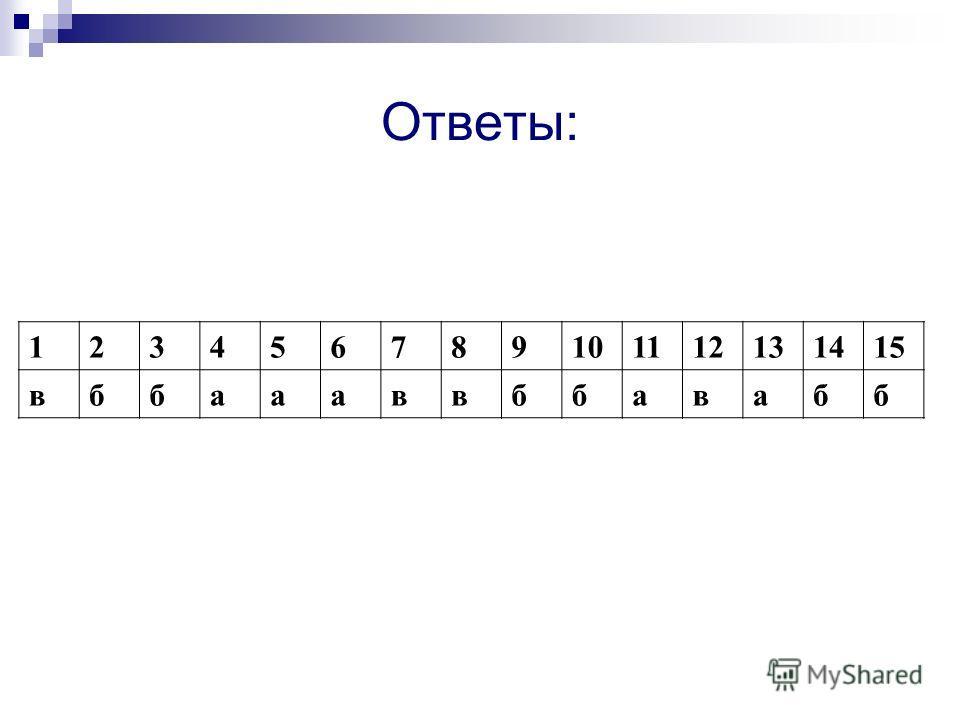 Ответы: 123456789101112131415 вббаааввббавабб