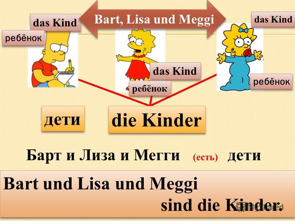 die Kinder das Kind дети das Kind ребёнок Барт и Лиза и Мегги (есть) дети Bart und Lisa und Meggi sind die Kinder. Bart und Lisa und Meggi sind die Kinder. Bart, Lisa und Meggi