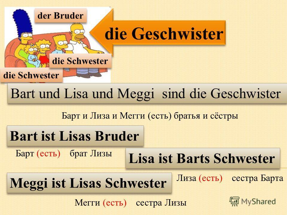 der Bruder die Schwester Bart und Lisa und Meggi sind die Geschwister Bart ist Lisas Bruder Lisa ist Barts Schwester Meggi ist Lisas Schwester Барт и Лиза и Мегги (есть) братья и сёстры Лиза (есть) сестра Барта Мегги (есть) сестра Лизы Барт (есть) бр