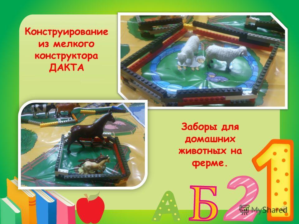 Конструирование из мелкого конструктора ДАКТА Заборы для домашних животных на ферме.