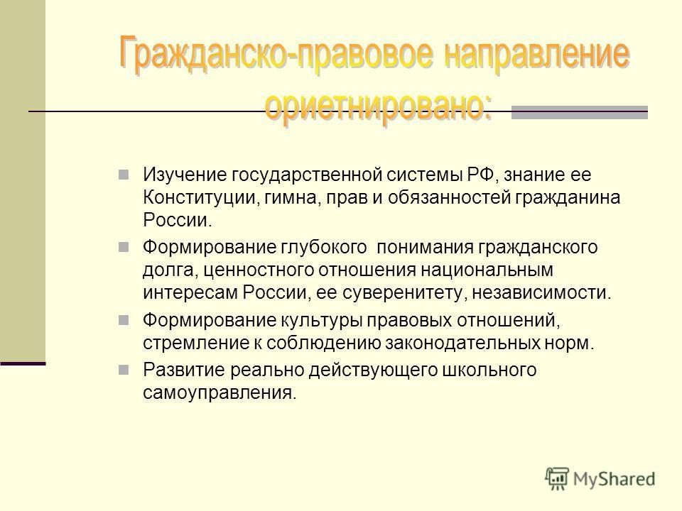 Изучение государственной системы РФ, знание ее Конституции, гимна, прав и обязанностей гражданина России. Формирование глубокого понимания гражданского долга, ценностного отношения национальным интересам России, ее суверенитету, независимости. Формир