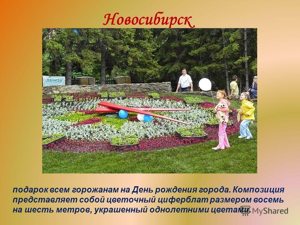 Новосибирск подарок всем горожанам на День рождения города. Композиция представляет собой цветочный циферблат размером восемь на шесть метров, украшенный однолетними цветами.