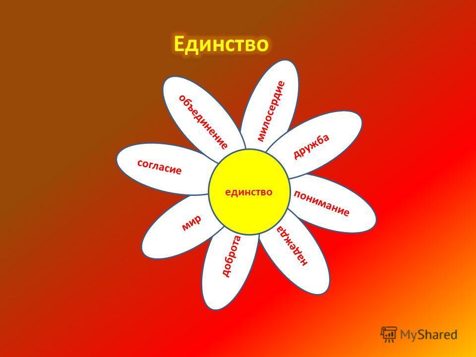 понимание надежда доброта милосердие дружба мир согласие объединение единство