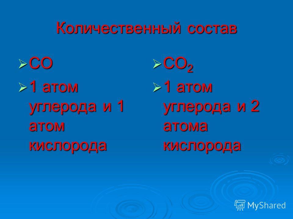Количественный состав СО СО 1 атом углерода и 1 атом кислорода 1 атом углерода и 1 атом кислорода СО 2 СО 2 1 атом углерода и 2 атома кислорода 1 атом углерода и 2 атома кислорода