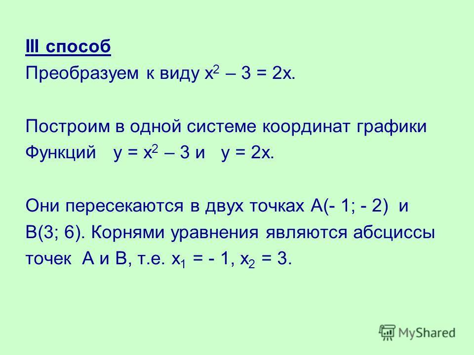 III способ Преобразуем к виду х 2 – 3 = 2х. Построим в одной системе координат графики Функций у = х 2 – 3 и у = 2х. Они пересекаются в двух точках А(- 1; - 2) и В(3; 6). Корнями уравнения являются абсциссы точек А и В, т.е. х 1 = - 1, х 2 = 3.