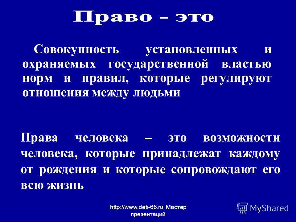 http://www.deti-66.ru Мастер презентаций Совокупность установленных и охраняемых государственной властью норм и правил, которые регулируют отношения между людьми Права человека – это возможности человека, которые принадлежат каждому от рождения и кот