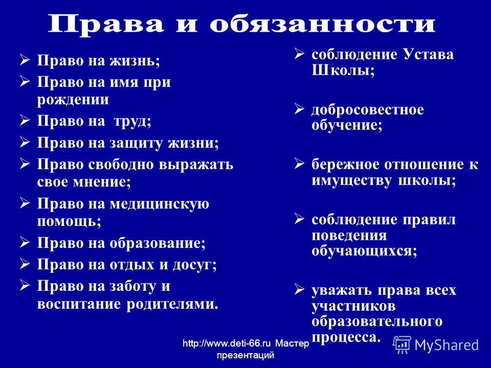 http://www.deti-66.ru Мастер презентаций Право на жизнь; Право на имя при рождении Право на труд; Право на защиту жизни; Право свободно выражать свое мнение; Право на медицинскую помощь; Право на образование; Право на отдых и досуг; Право на заботу и