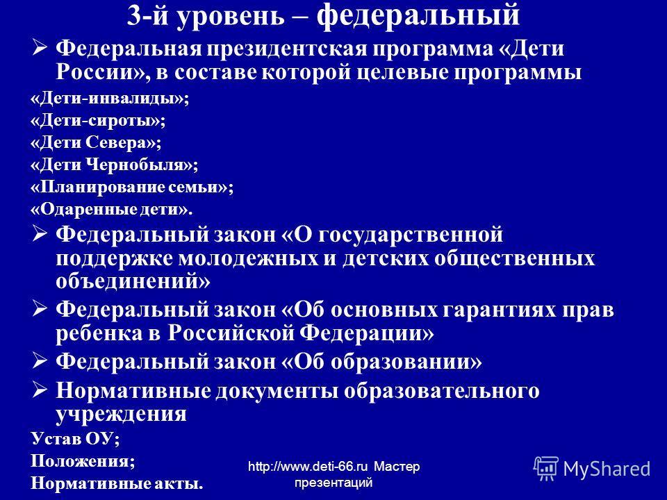 http://www.deti-66.ru Мастер презентаций 3-й уровень – федеральный Федеральная президентская программа «Дети России», в составе которой целевые программы «Дети-инвалиды»; «Дети-сироты»; «Дети Севера»; «Дети Чернобыля»; «Планирование семьи»; «Одаренны