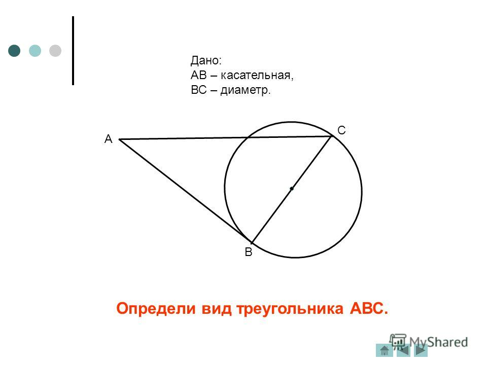 Определи вид треугольника АВС. Дано: АВ – касательная, ВС – диаметр. А В С