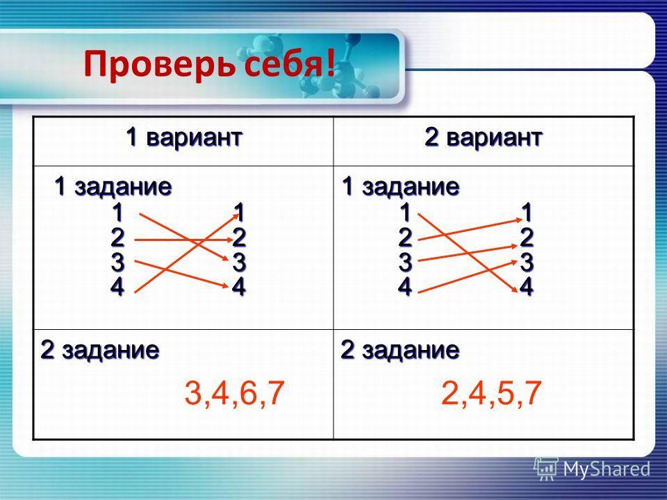 Проверь себя! 1 вариант 2 вариант 1 задание 1 1 1 1 2 2 2 2 3 3 3 3 4 4 4 4 1 задание 1 1 1 1 2 2 2 2 3 3 3 3 4 4 4 4 2 задание 3,4,6,7 2 задание 2,4,5,7