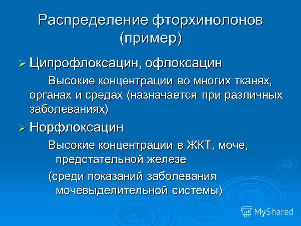 Распределение фторхинолонов (пример) Ципрофлоксацин, офлоксацин Ципрофлоксацин, офлоксацин Высокие концентрации во многих тканях, органах и средах (назначается при различных заболеваниях) Норфлоксацин Норфлоксацин Высокие концентрации в ЖКТ, моче, пр