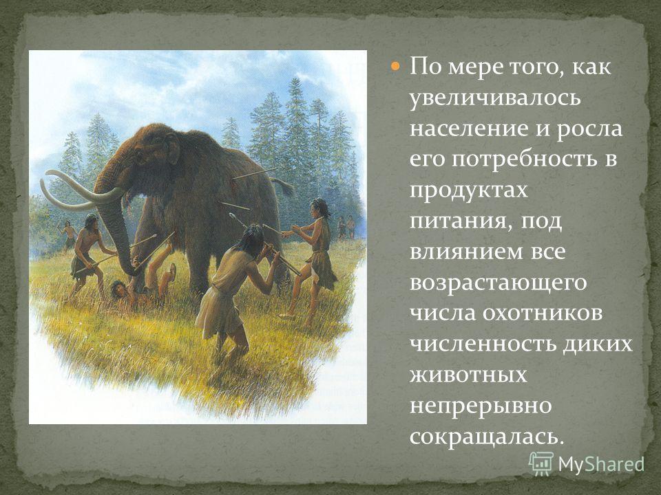 По мере того, как увеличивалось население и росла его потребность в продуктах питания, под влиянием все возрастающего числа охотников численность диких животных непрерывно сокращалась.