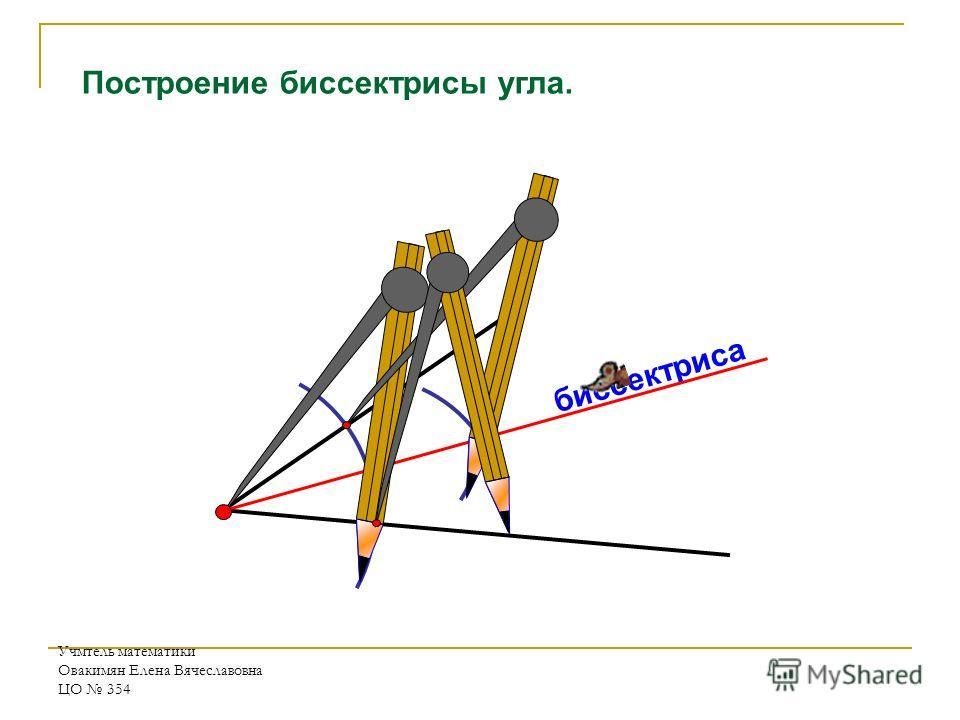Учмтель математики Овакимян Елена Вячеславовна ЦО 354 биссектриса Построение биссектрисы угла.