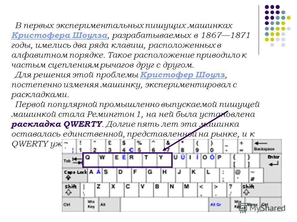 В первых экспериментальных пишущих машинках Кристофера Шоулза, разрабатываемых в 18671871 годы, имелись два ряда клавиш, расположенных в алфавитном порядке. Такое расположение приводило к частым сцеплениям рычагов друг с другом. Кристофера Шоулза Для