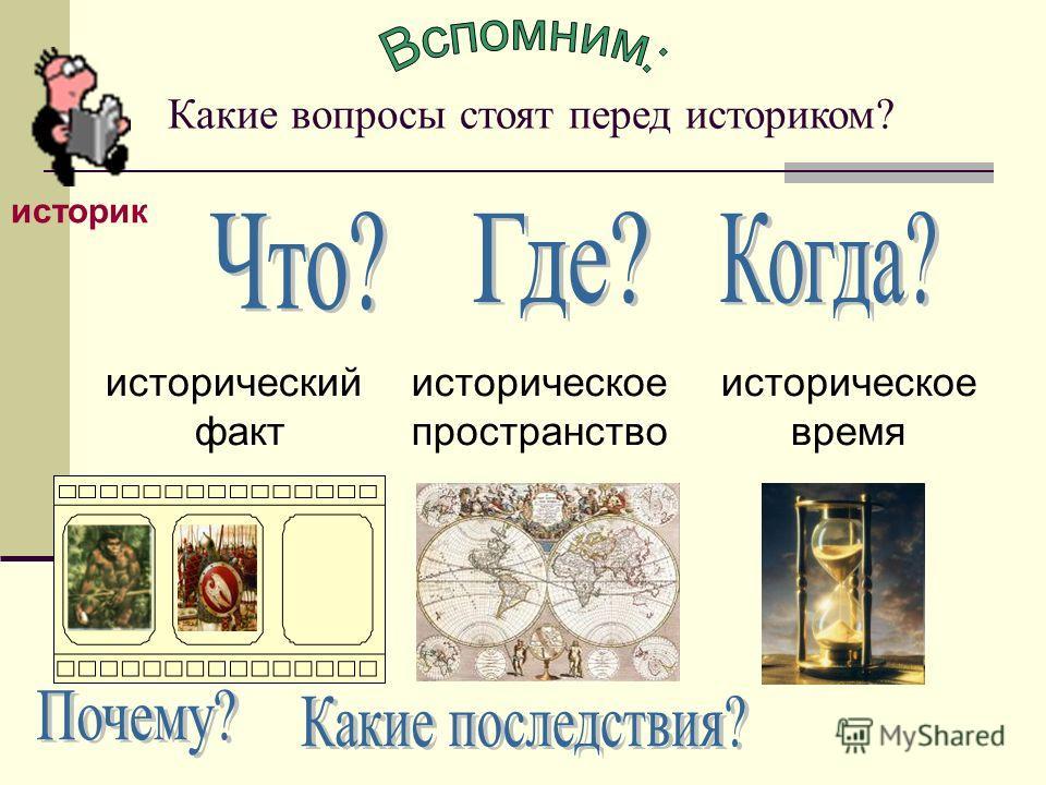 Какие вопросы стоят перед историком? историк историческое пространство историческое время исторический факт