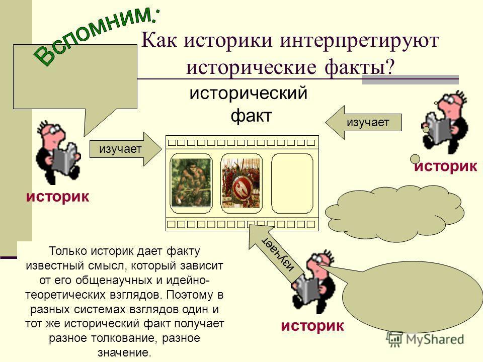 Как историки интерпретируют исторические факты? историк исторический факт историк изучает Только историк дает факту известный смысл, который зависит от его общенаучных и идейно- теоретических взглядов. Поэтому в разных системах взглядов один и тот же