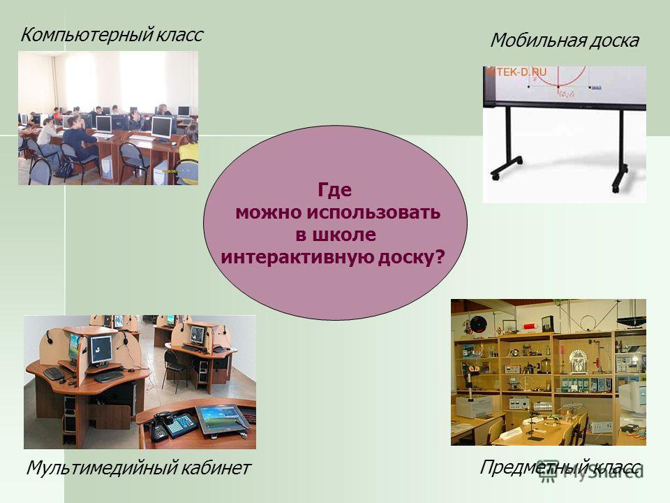 Где можно использовать в школе интерактивную доску? Компьютерный класс Мультимедийный кабинет Предметный класс Мобильная доска