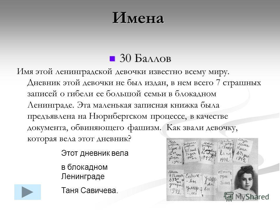 30 Баллов 30 Баллов Имя этой ленинградской девочки известно всему миру. Дневник этой девочки не был издан, в нем всего 7 страшных записей о гибели ее большой семьи в блокадном Ленинграде. Эта маленькая записная книжка была предъявлена на Нюрнбергском