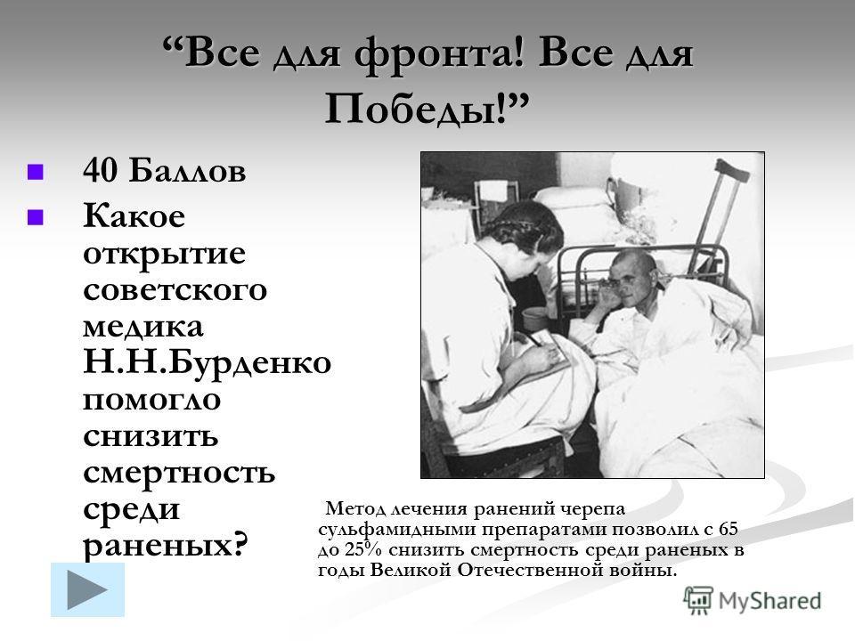 Все для фронта! Все для Победы! 40 Баллов Какое открытие советского медика Н.Н.Бурденко помогло снизить смертность среди раненых? Метод лечения ранений черепа сульфамидными препаратами позволил с 65 до 25% снизить смертность среди раненых в годы Вели