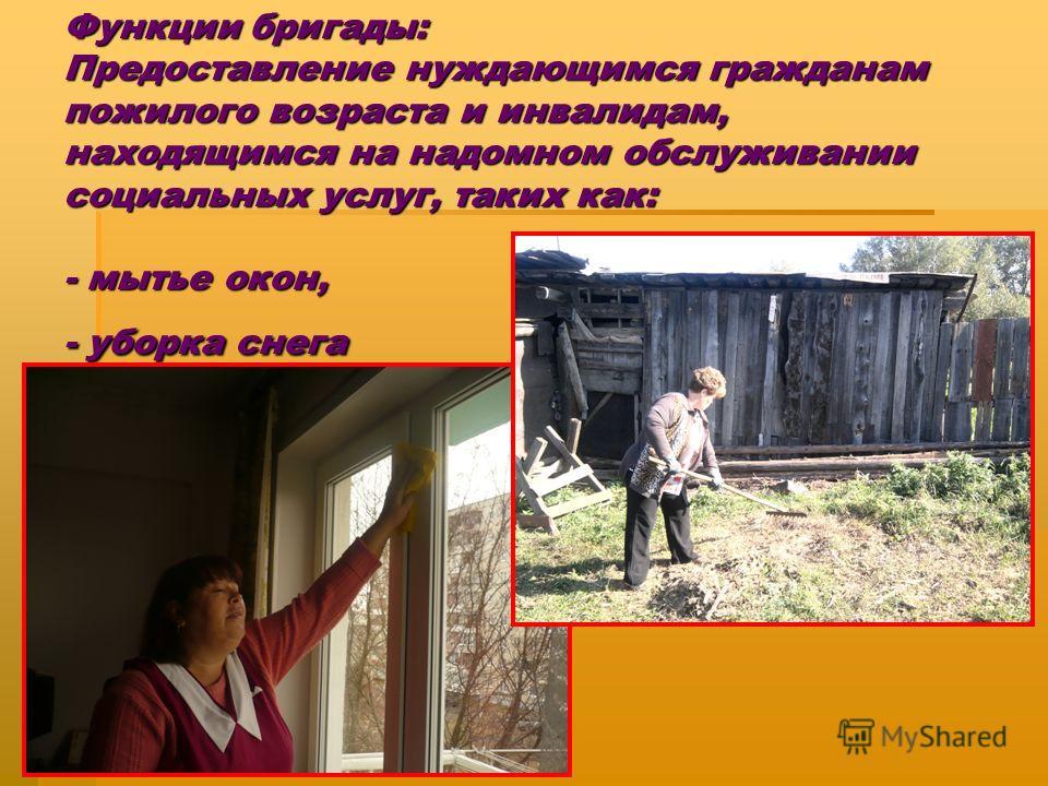Функции бригады: Предоставление нуждающимся гражданам пожилого возраста и инвалидам, находящимся на надомном обслуживании социальных услуг, таких как: - мытье окон, - уборка снега