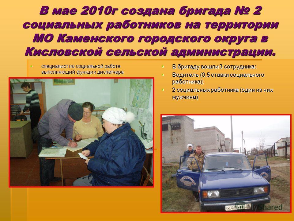 В мае 2010г создана бригада 2 социальных работников на территории МО Каменского городского округа в Кисловской сельской администрации. специалист по социальной работе выполняющий функции диспетчера специалист по социальной работе выполняющий функции
