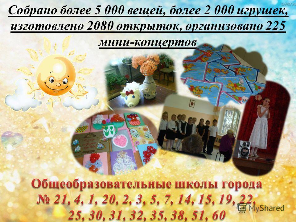 Собрано более 5 000 вещей, более 2 000 игрушек, изготовлено 2080 открыток, организовано 225 мини-концертов