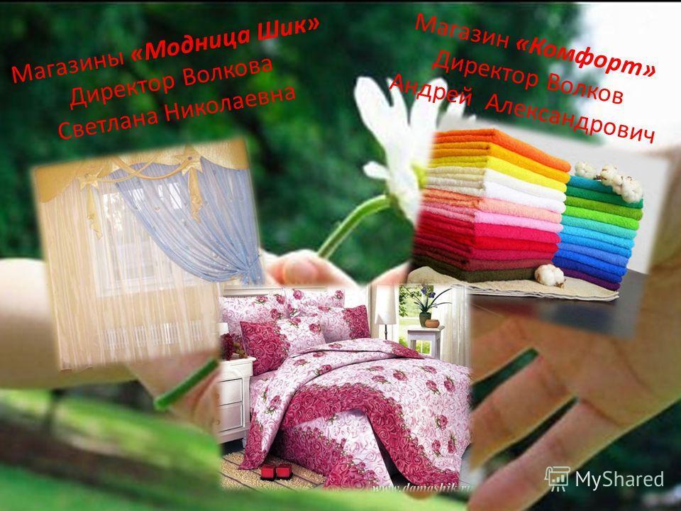 Магазины «Модница Шик» Директор Волкова Светлана Николаевна Магазин «Комфорт» Директор Волков Андрей Александрович