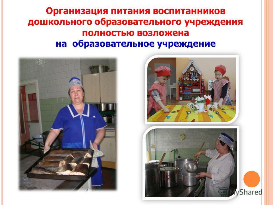 Организация питания воспитанников дошкольного образовательного учреждения полностью возложена на образовательное учреждение