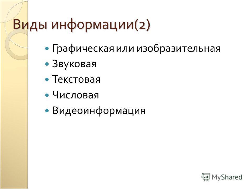 Виды информации(2) Графическая или изобразительная Звуковая Текстовая Числовая Видеоинформация