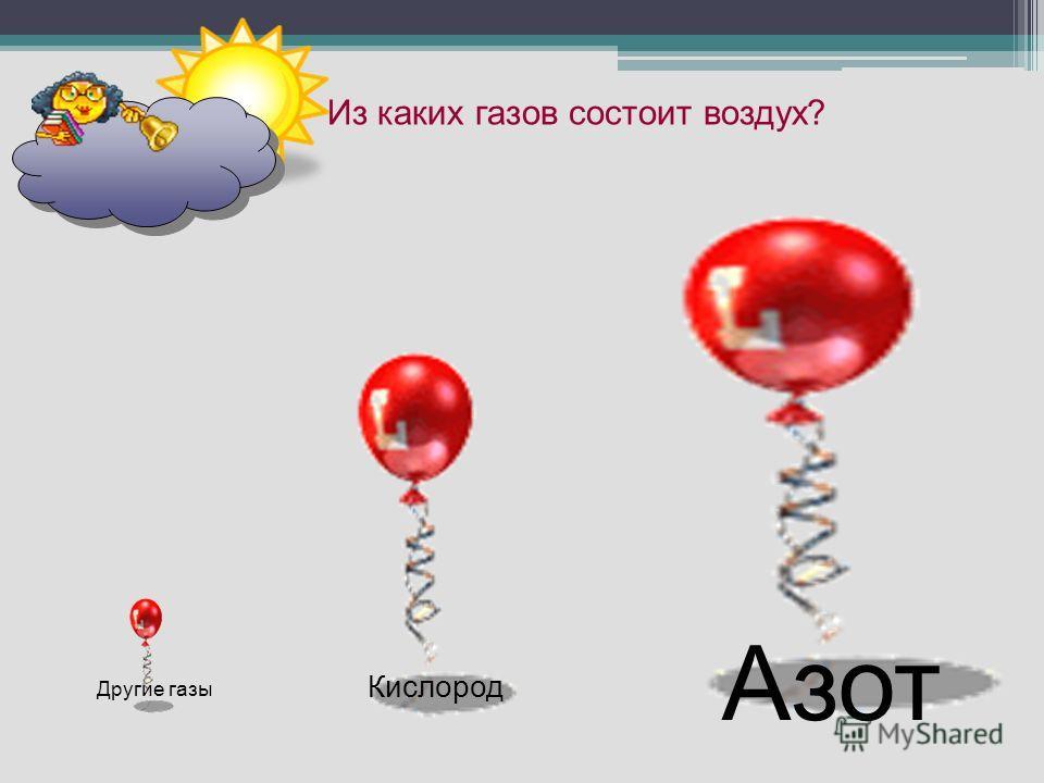 Из каких газов состоит воздух? Азот Кислород Другие газы