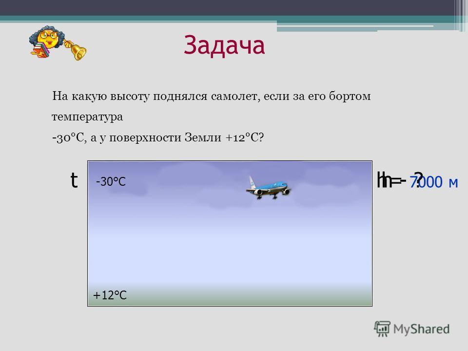 Задача На какую высоту поднялся самолет, если за его бортом температура -30°С, а у поверхности Земли +12°С? h= 7000 м h - ? t +12°С -30°С