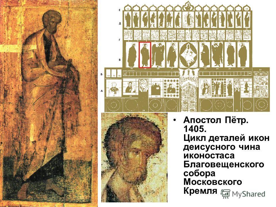 Апостол Пётр. 1405. Цикл деталей икон деисусного чина иконостаса Благовещенского собора Московского Кремля