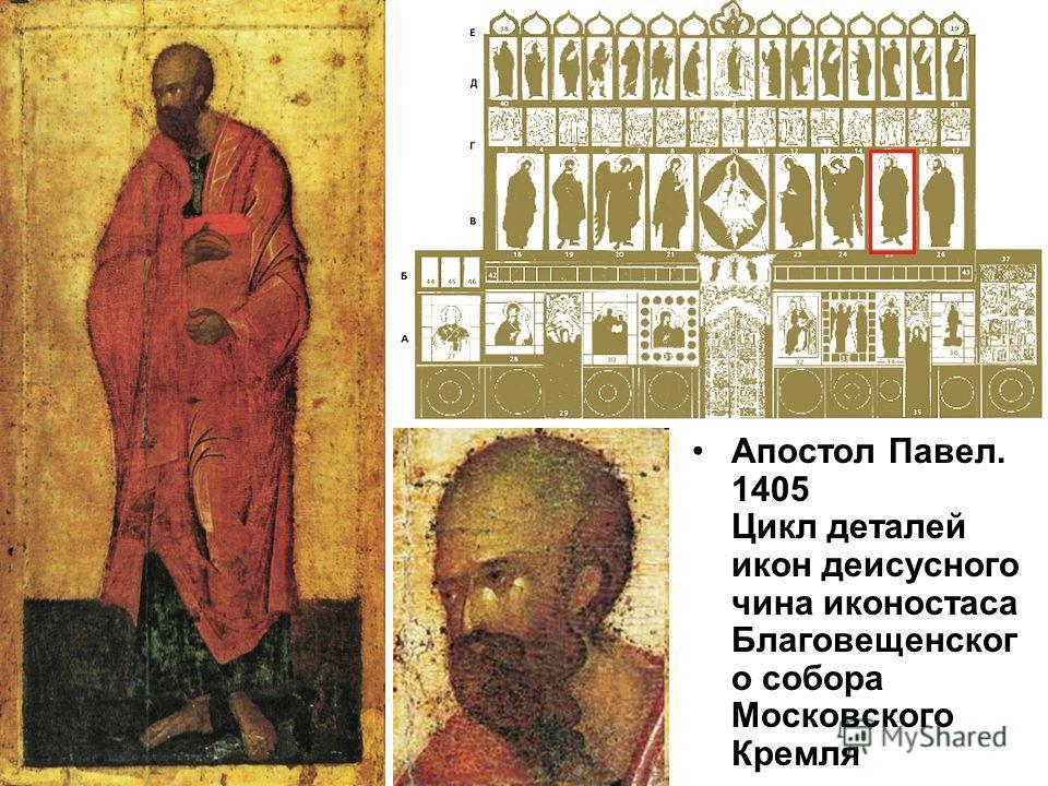 Апостол Павел. 1405 Цикл деталей икон деисусного чина иконостаса Благовещенског о собора Московского Кремля