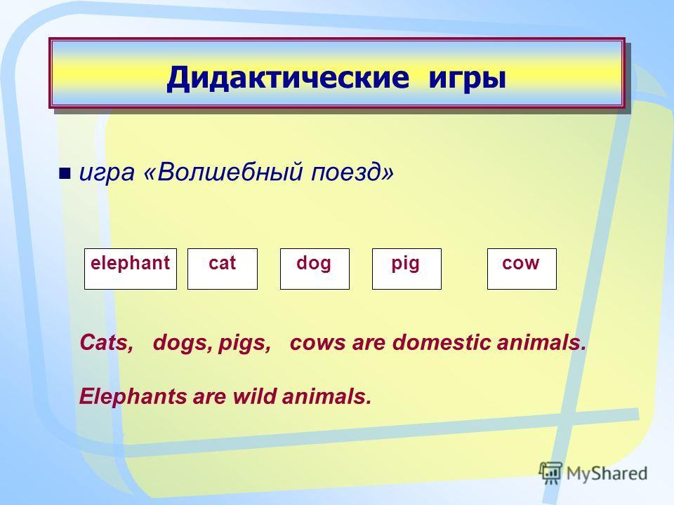 Дидактические игры игра «Волшебный поезд» elephantcatdogpigcow Cats, dogs, pigs, cows are domestic animals. Elephants are wild animals.