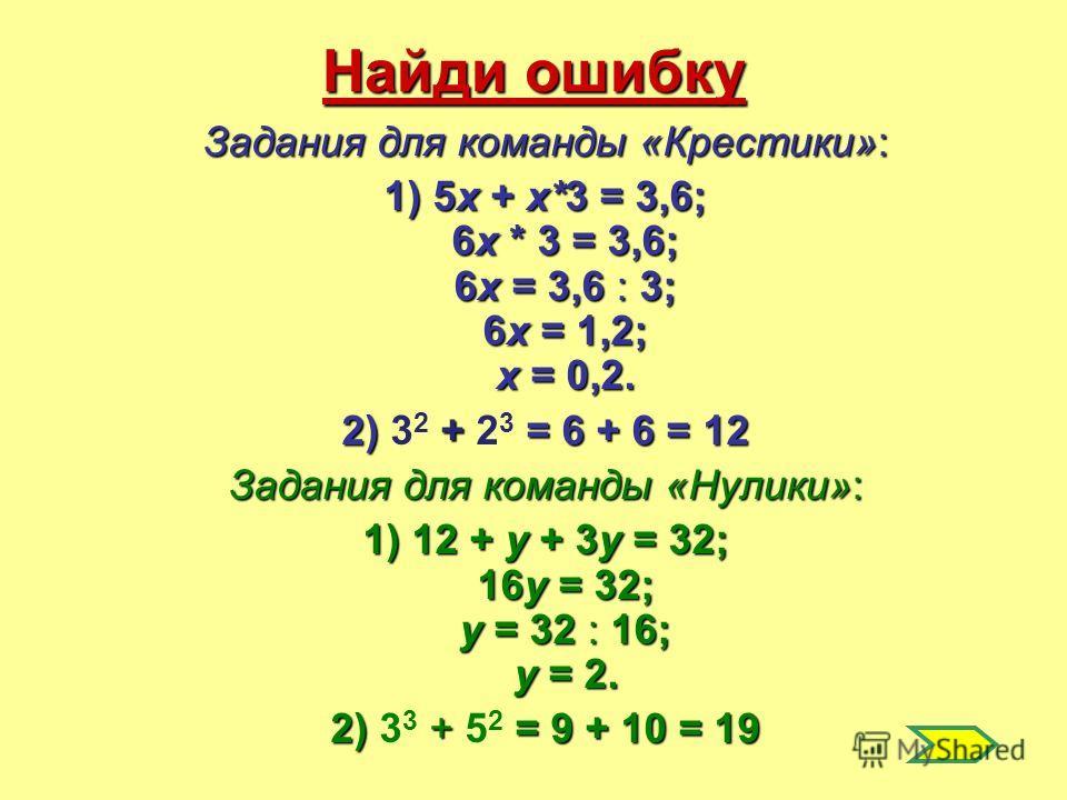 Найди ошибку Задания для команды «Крестики»: 1) 5х + х*3 = 3,6; 6х * 3 = 3,6; 6х = 3,6 : 3; 6х = 1,2; х = 0,2. 2) + = 6 + 6 = 12 2) 3 2 + 2 3 = 6 + 6 = 12 Задания для команды «Нулики»: 1) 12 + у + 3у = 32; 16у = 32; у = 32 : 16; у = 2. 2) + = 9 + 10