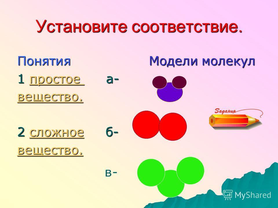 Установите соответствие. Понятия Модели молекул 1 простое а- простое вещество. 2 сложное б- сложное вещество. в-