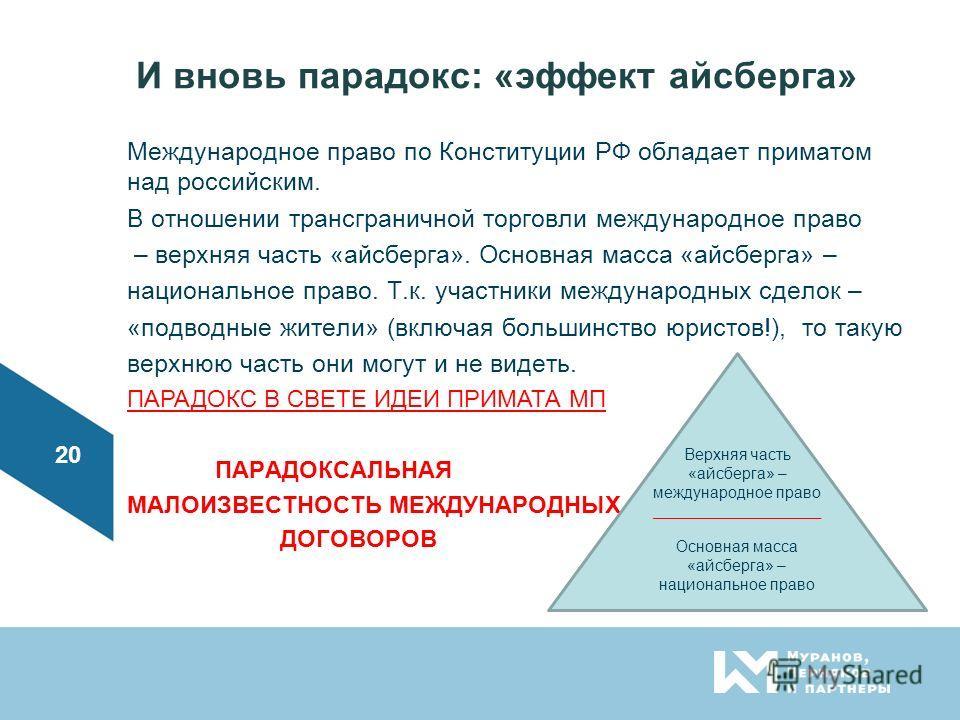 И вновь парадокс: «эффект айсберга» Международное право по Конституции РФ обладает приматом над российским. В отношении трансграничной торговли международное право – верхняя часть «айсберга». Основная масса «айсберга» – национальное право. Т.к. участ