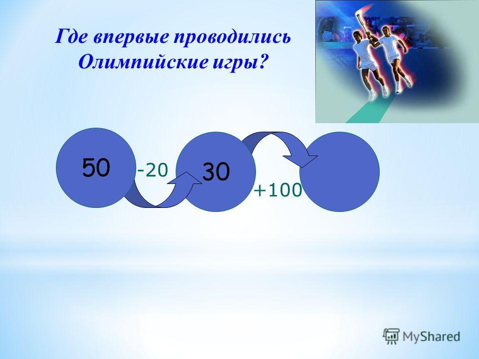 30 50 -20 +100 Где впервые проводились Олимпийские игры?