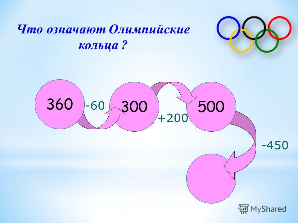 500300 360 -60 +200 -450 Что означают Олимпийские кольца ?