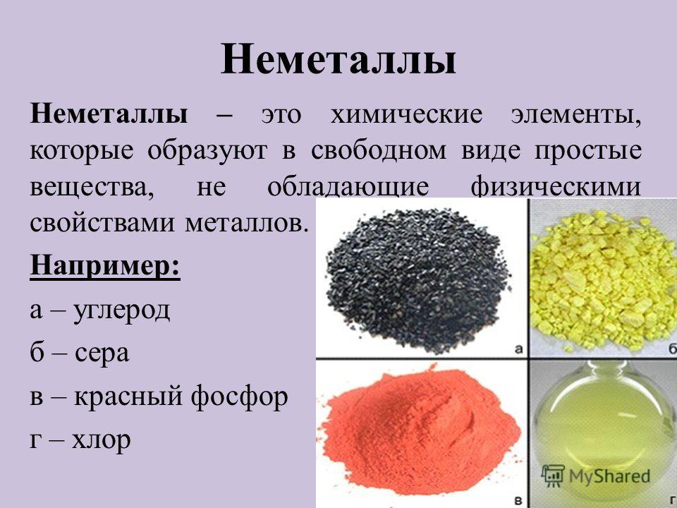 Неметаллы Неметаллы – это химические элементы, которые образуют в свободном виде простые вещества, не обладающие физическими свойствами металлов. Например: а – углерод б – сера в – красный фосфор г – хлор