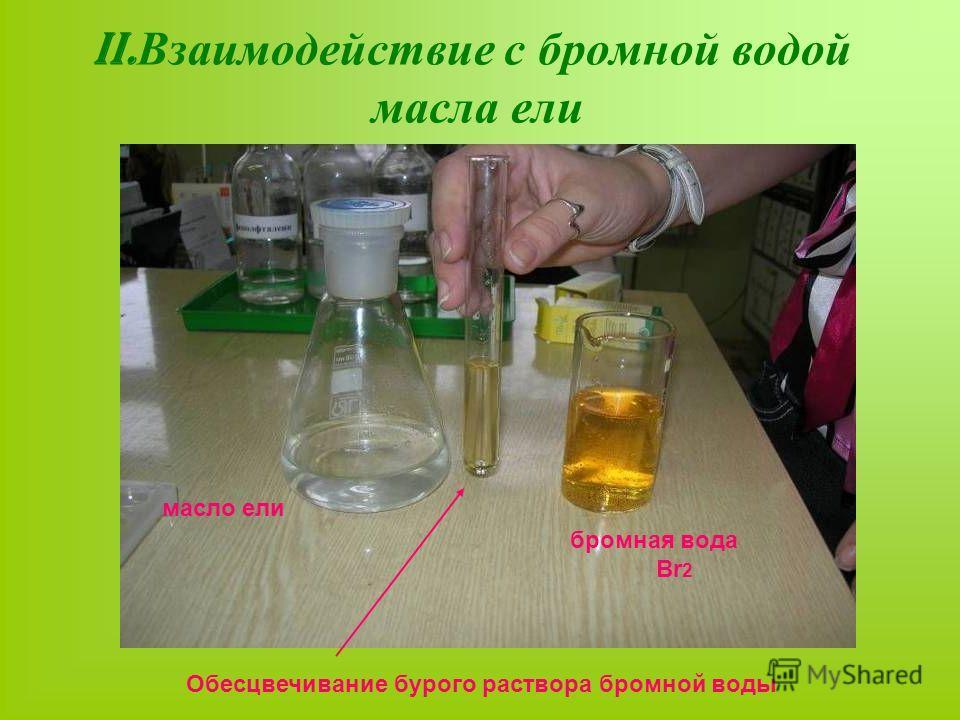 II. Взаимодействие с бромной водой масла ели Обесцвечивание бурого раствора бромной воды бромная вода Br 2 масло ели
