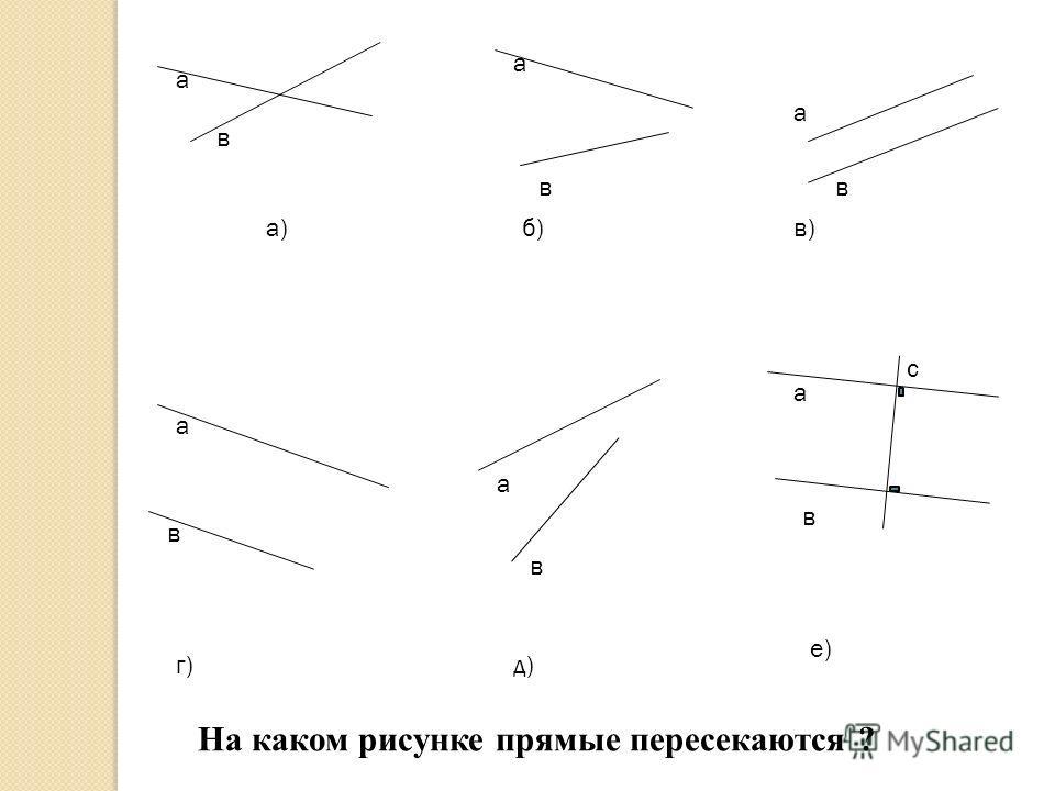 а в а) а в б) а в в) а в г) а в д) а в с е) На каком рисунке прямые пересекаются ?