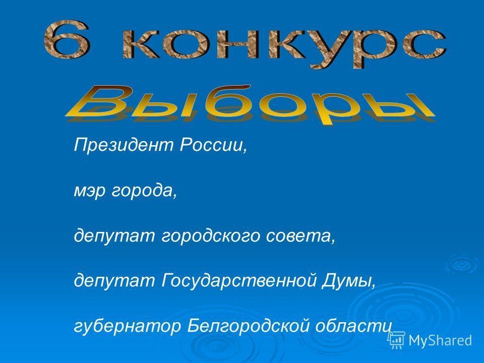 Президент России, мэр города, депутат городского совета, депутат Государственной Думы, губернатор Белгородской области