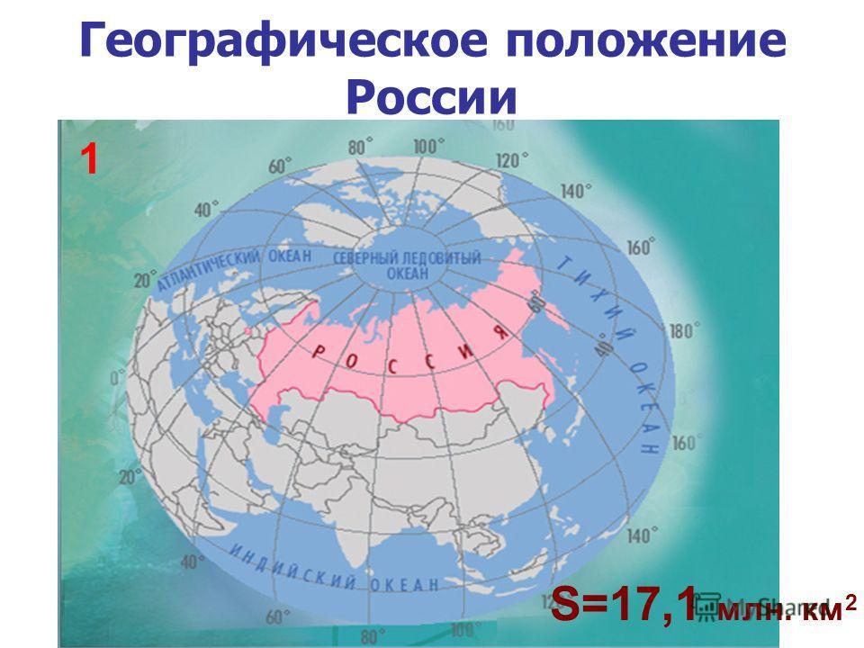 Географическое положение России S=17,1 млн. км 2 1