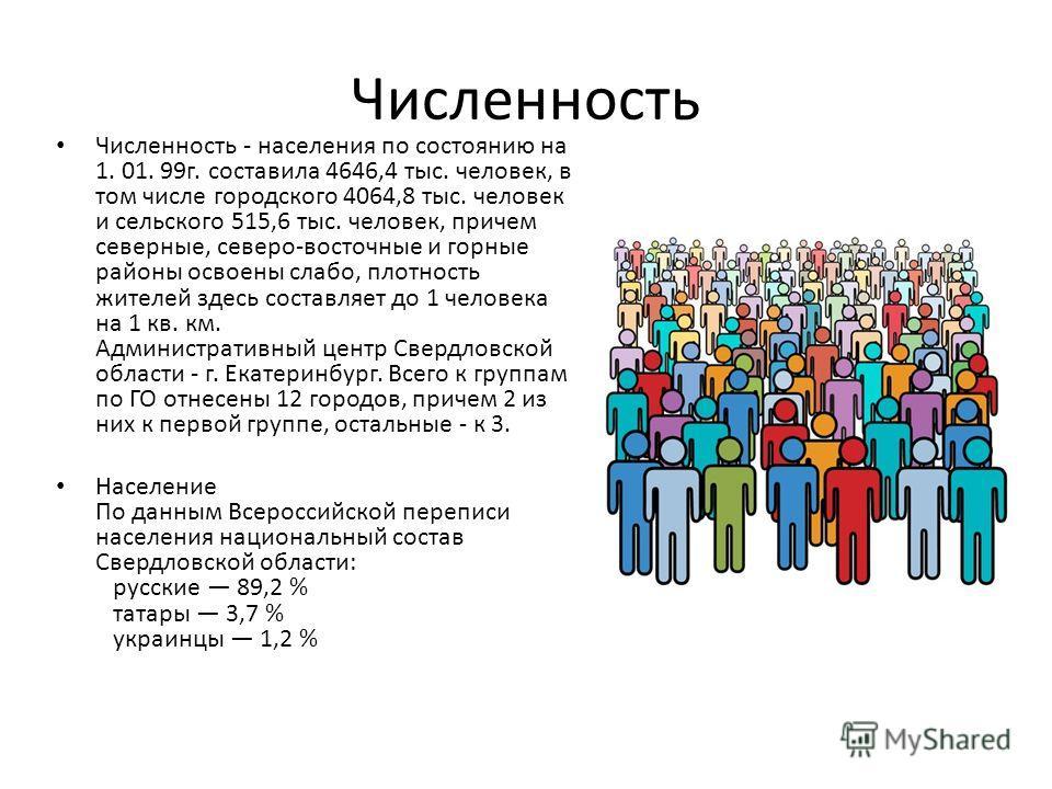 Численность Численность - населения по состоянию на 1. 01. 99г. составила 4646,4 тыс. человек, в том числе городского 4064,8 тыс. человек и сельского 515,6 тыс. человек, причем северные, северо-восточные и горные районы освоены слабо, плотность жител