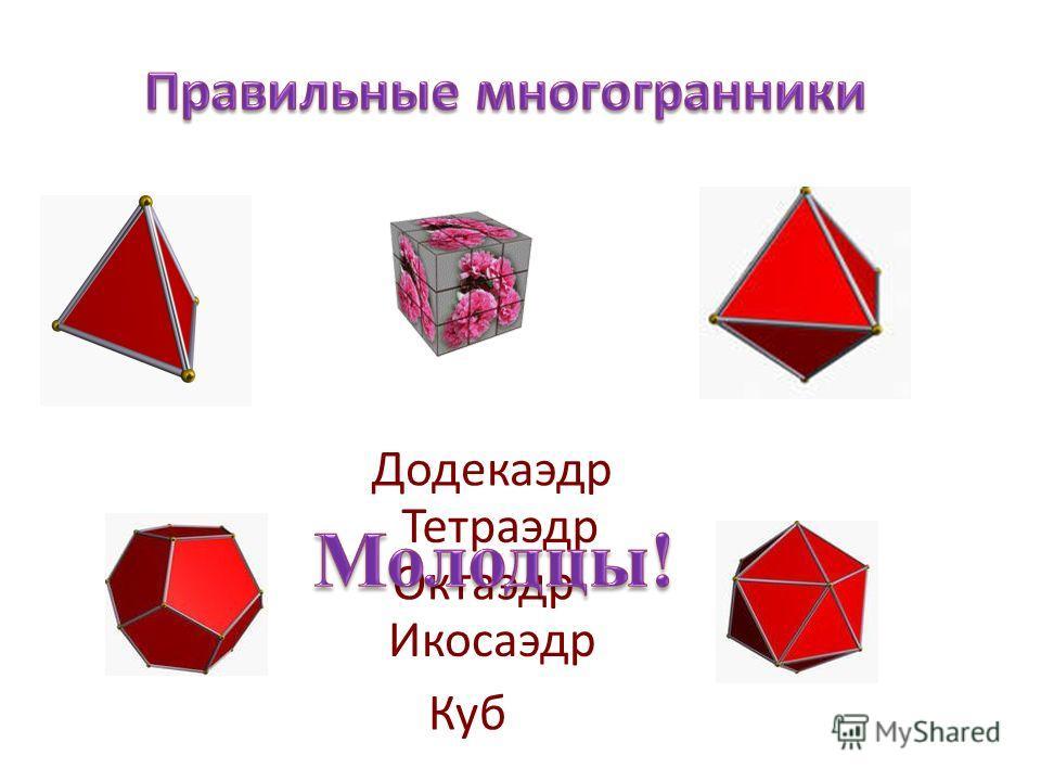 Тетраэдр Куб Октаэдр Икосаэдр Додекаэдр